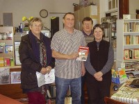 FBU rep Jez Rawlings with Labour county candidates Maureen Smith, Andy Lewis and Lesley Culverhouse