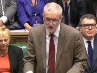 Labour party leader Jeremy Corbyn speaks during Prime Labour Leader Jeremy Corbyn with his loyal front bench team